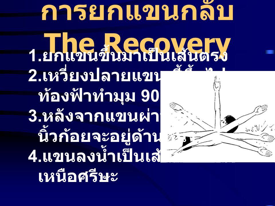 การยกแขนกลับ The Recovery 1. ยกแขนขึ้นมาเป็นเส้นตรง 2. เหวี่ยงปลายแขน ชี้ขึ้นไปบน ท้องฟ้าทำมุม 90 องศา 3. หลังจากแขนผ่านศรีษะ นิ้วก้อยจะอยู่ด้านหน้า 4