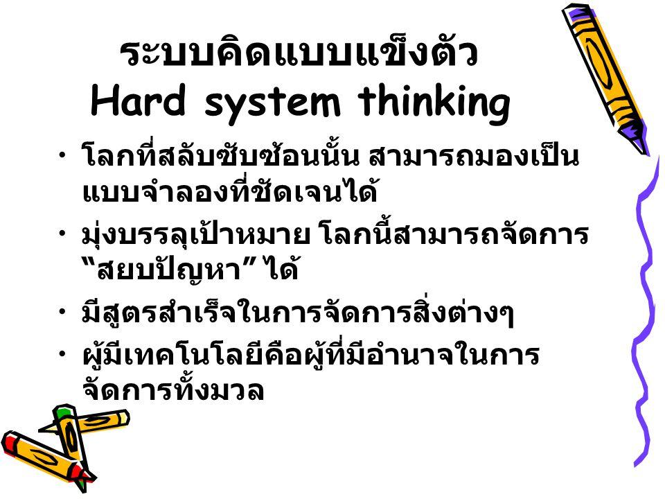 """ระบบคิดแบบแข็งตัว Hard system thinking โลกที่สลับซับซ้อนนั้น สามารถมองเป็น แบบจำลองที่ชัดเจนได้ มุ่งบรรลุเป้าหมาย โลกนี้สามารถจัดการ """" สยบปัญหา """" ได้"""