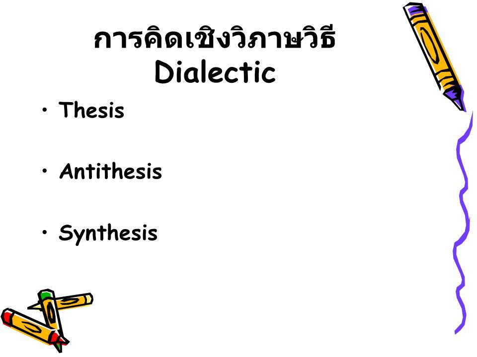 การคิดเชิงวิภาษวิธี Dialectic Thesis Antithesis Synthesis