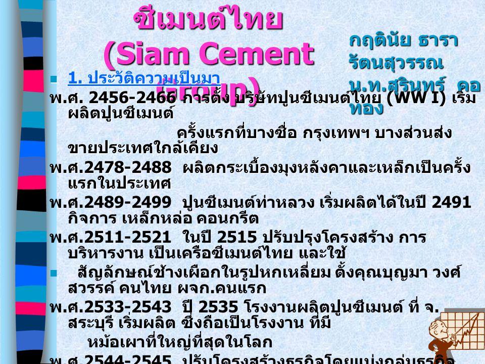 ศึกษาดูงาน เครือ ซีเมนต์ไทย (Siam Cement Group) 1. ประวัติความเป็นมา 1. ประวัติความเป็นมา 1. ประวัติความเป็นมา 1. ประวัติความเป็นมา พ. ศ. 2456-2466 กา