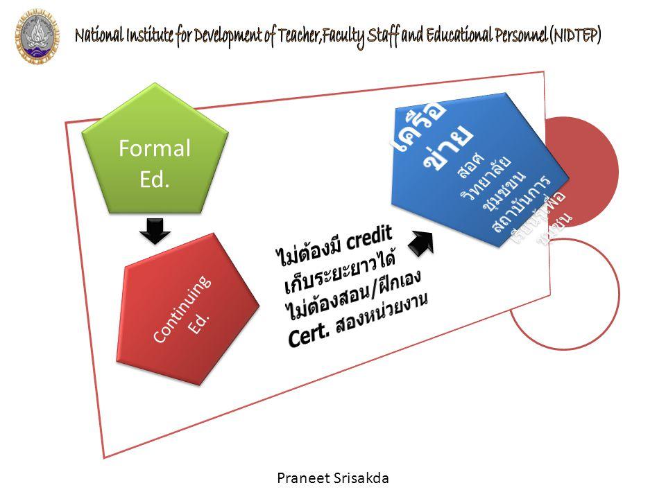 Praneet Srisakda Formal Ed. Formal Ed. Continuing Ed. Continuing Ed.