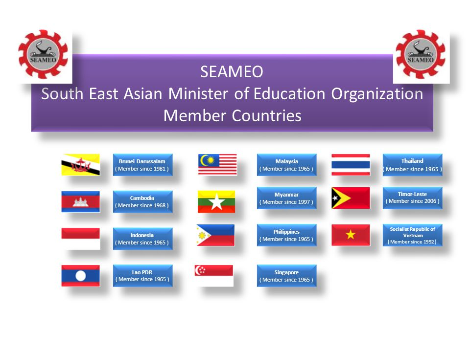 SEAMEO South East Asian Minister of Education Organization Member Countries SEAMEO South East Asian Minister of Education Organization Member Countrie