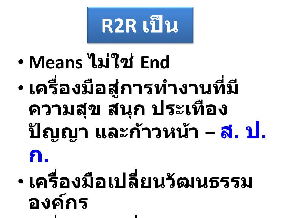 R2R เป็น Means ไม่ใช่ End เครื่องมือสู่การทำงานที่มี ความสุข สนุก ประเทือง ปัญญา และก้าวหน้า – ส. ป. ก. เครื่องมือเปลี่ยนวัฒนธรรม องค์กร เครื่องมือเปล