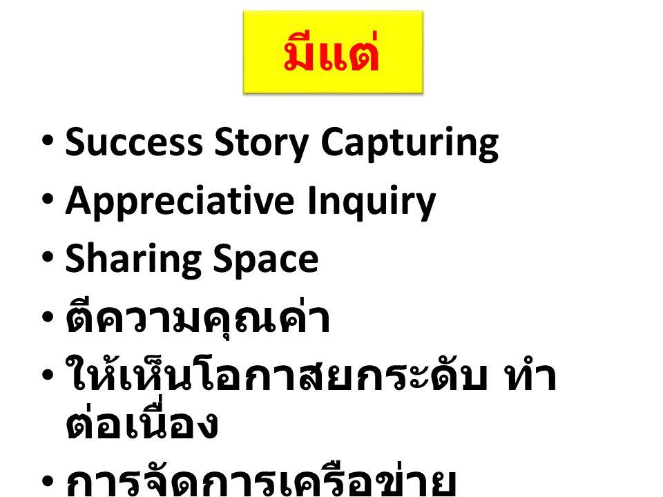 มีแต่ Success Story Capturing Appreciative Inquiry Sharing Space ตีความคุณค่า ให้เห็นโอกาสยกระดับ ทำ ต่อเนื่อง การจัดการเครือข่าย