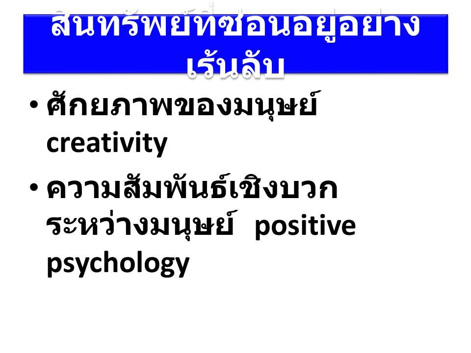 สินทรัพย์ที่ซ่อนอยู่อย่าง เร้นลับ ศักยภาพของมนุษย์ creativity ความสัมพันธ์เชิงบวก ระหว่างมนุษย์ positive psychology