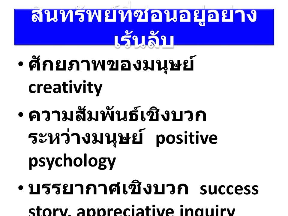 สินทรัพย์ที่ซ่อนอยู่อย่าง เร้นลับ ศักยภาพของมนุษย์ creativity ความสัมพันธ์เชิงบวก ระหว่างมนุษย์ positive psychology บรรยากาศเชิงบวก success story, app