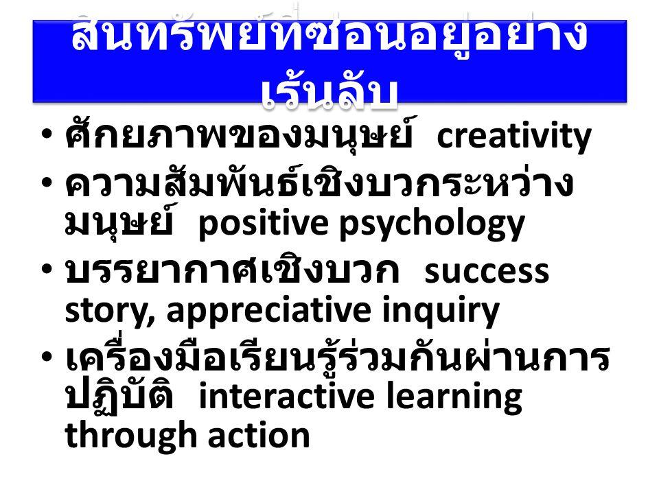 สินทรัพย์ที่ซ่อนอยู่อย่าง เร้นลับ ศักยภาพของมนุษย์ creativity ความสัมพันธ์เชิงบวกระหว่าง มนุษย์ positive psychology บรรยากาศเชิงบวก success story, app