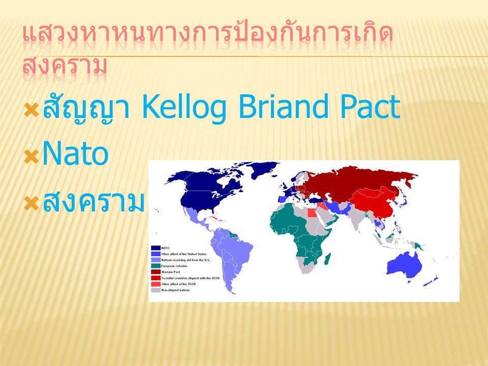  สัญญา Kellog Briand Pact  Nato  สงครามเย็น