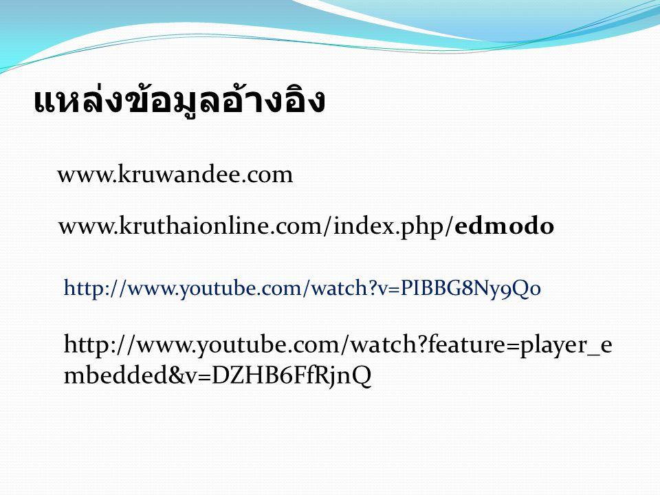 แหล่งข้อมูลอ้างอิง www.kruwandee.com www.kruthaionline.com/index.php/edmodo  http://www.youtube.com/watch?v=PIBBG8Ny9Qo http://www.youtube.com/watch?