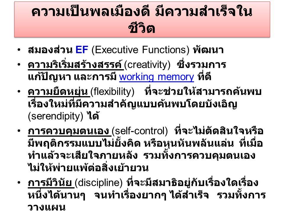 ความเป็นพลเมืองดี มีความสำเร็จใน ชีวิต สมองส่วน EF (Executive Functions) พัฒนา ความริเริ่มสร้างสรรค์ (creativity) ซึ่งรวมการ แก้ปัญหา และการมี working