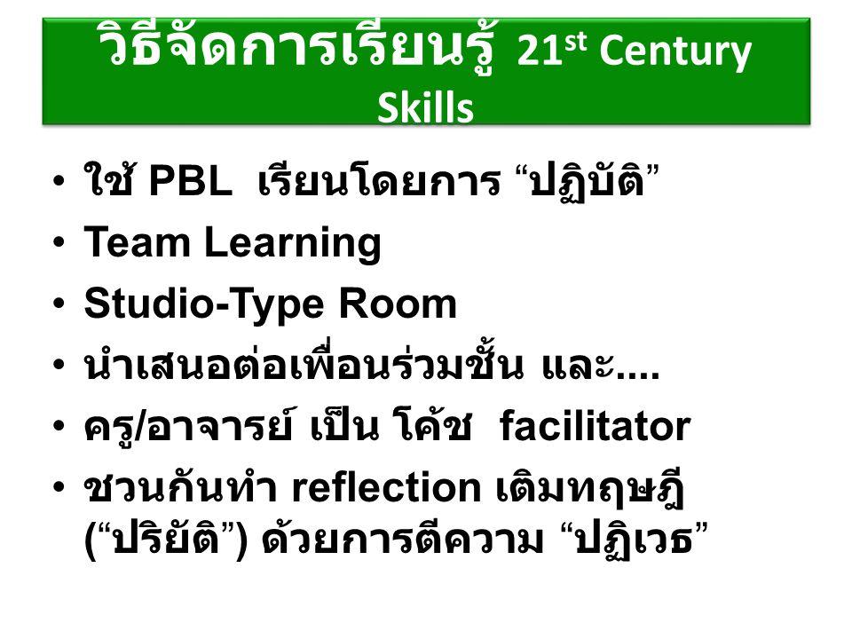 """วิธีจัดการเรียนรู้ 21 st Century Skills ใช้ PBL เรียนโดยการ """" ปฏิบัติ """" Team Learning Studio-Type Room นำเสนอต่อเพื่อนร่วมชั้น และ.... ครู / อาจารย์ เ"""