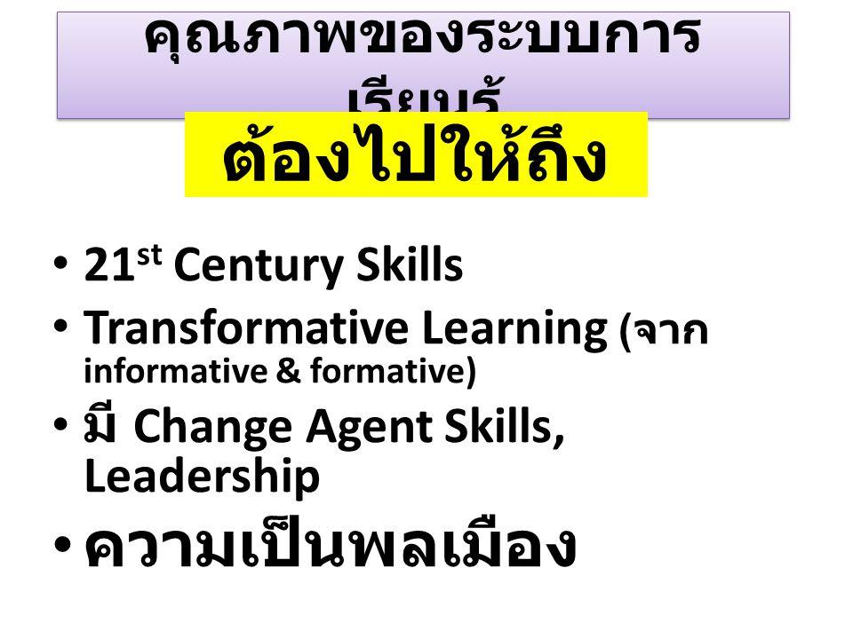 คุณภาพของระบบการ เรียนรู้ 21 st Century Skills Transformative Learning ( จาก informative & formative) มี Change Agent Skills, Leadership ความเป็นพลเมื