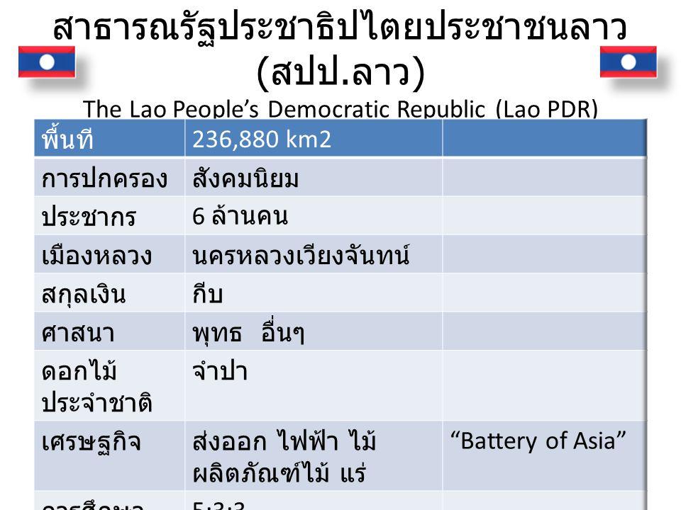 สาธารณรัฐประชาธิปไตยประชาชนลาว ( สปป. ลาว ) The Lao People's Democratic Republic (Lao PDR)