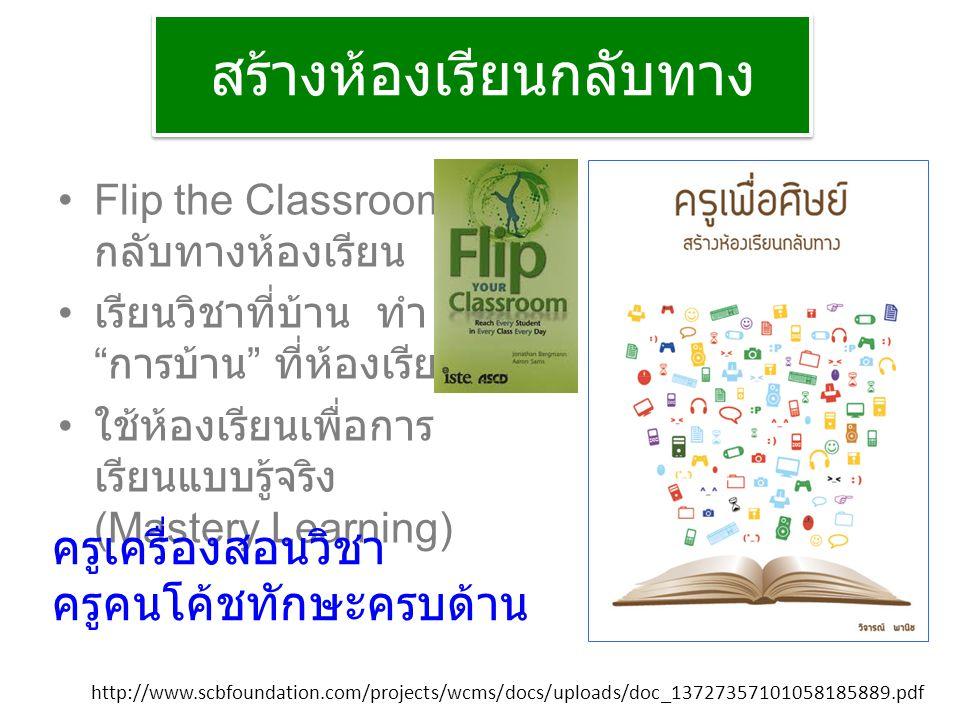 สร้างห้องเรียนกลับทาง Flip the Classroom กลับทางห้องเรียน เรียนวิชาที่บ้าน ทำ การบ้าน ที่ห้องเรียน ใช้ห้องเรียนเพื่อการ เรียนแบบรู้จริง (Mastery Learning) http://www.scbfoundation.com/projects/wcms/docs/uploads/doc_13727357101058185889.pdf ครูเครื่องสอนวิชา ครูคนโค้ชทักษะครบด้าน