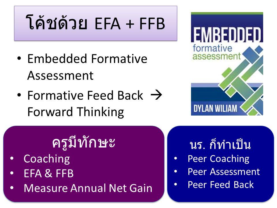 โค้ชด้วย EFA + FFB Embedded Formative Assessment Formative Feed Back  Forward Thinking ครูมีทักษะ Coaching EFA & FFB Measure Annual Net Gain ครูมีทักษะ Coaching EFA & FFB Measure Annual Net Gain นร.