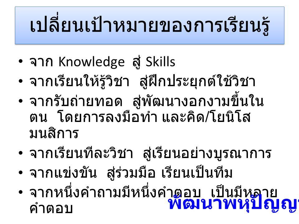 เปลี่ยนเป้าหมายของการเรียนรู้ จาก Knowledge สู่ Skills จากเรียนให้รู้วิชา สู่ฝึกประยุกต์ใช้วิชา จากรับถ่ายทอด สู่พัฒนางอกงามขึ้นใน ตน โดยการลงมือทำ และคิด / โยนิโส มนสิการ จากเรียนทีละวิชา สู่เรียนอย่างบูรณาการ จากแข่งขัน สู่ร่วมมือ เรียนเป็นทีม จากหนึ่งคำถามมีหนึ่งคำตอบ เป็นมีหลาย คำตอบ พัฒนาพหุปัญญา