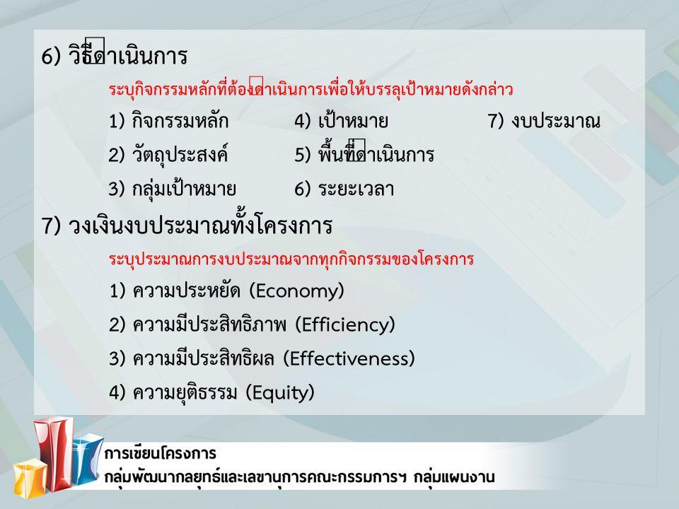 6) วิธีดำเนินการ ระบุกิจกรรมหลักที่ต้องดำเนินการเพื่อให้บรรลุเป้าหมายดังกล่าว 1) กิจกรรมหลัก4) เป้าหมาย7) งบประมาณ 2) วัตถุประสงค์5) พื้นที่ดำเนินการ 3) กลุ่มเป้าหมาย6) ระยะเวลา 7) วงเงินงบประมาณทั้งโครงการ ระบุประมาณการงบประมาณจากทุกกิจกรรมของโครงการ 1) ความประหยัด (Economy) 2) ความมีประสิทธิภาพ (Efficiency) 3) ความมีประสิทธิผล (Effectiveness) 4) ความยุติธรรม (Equity)