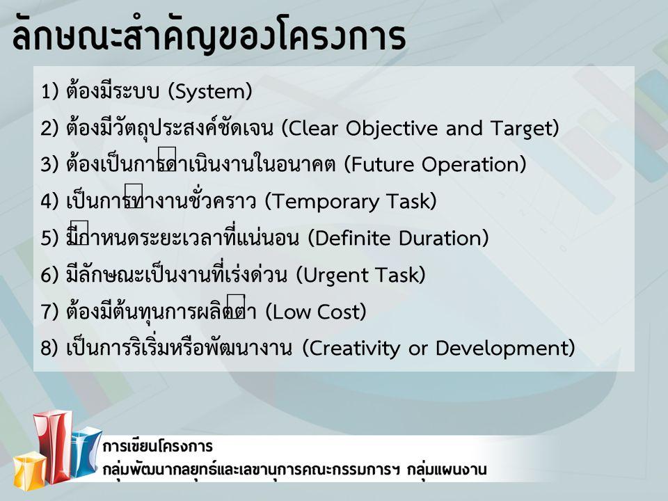1) ต้องมีระบบ (System) 2) ต้องมีวัตถุประสงค์ชัดเจน (Clear Objective and Target) 3) ต้องเป็นการดำเนินงานในอนาคต (Future Operation) 4) เป็นการทำงานชั่วคราว (Temporary Task) 5) มีกำหนดระยะเวลาที่แน่นอน (Definite Duration) 6) มีลักษณะเป็นงานที่เร่งด่วน (Urgent Task) 7) ต้องมีต้นทุนการผลิตต่ำ (Low Cost) 8) เป็นการริเริ่มหรือพัฒนางาน (Creativity or Development)