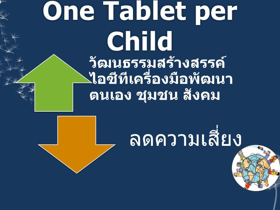 One Tablet per Child วัฒนธรรมสร้างสรรค์ ไอซีทีเครื่องมือพัฒนา ตนเอง ชุมชน สังคม ลดความเสี่ยง