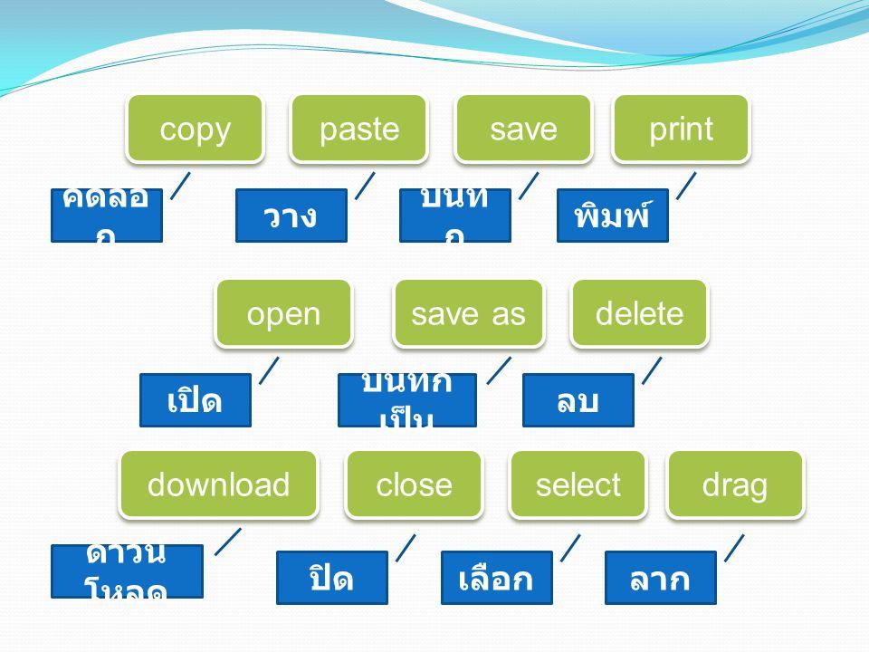 copy paste save save as delete print open download close drag select คัดลอ ก วาง บันทึ ก พิมพ์ เปิด บันทึก เป็น ลบ ดาวน์ โหลด ปิดเลือกลาก