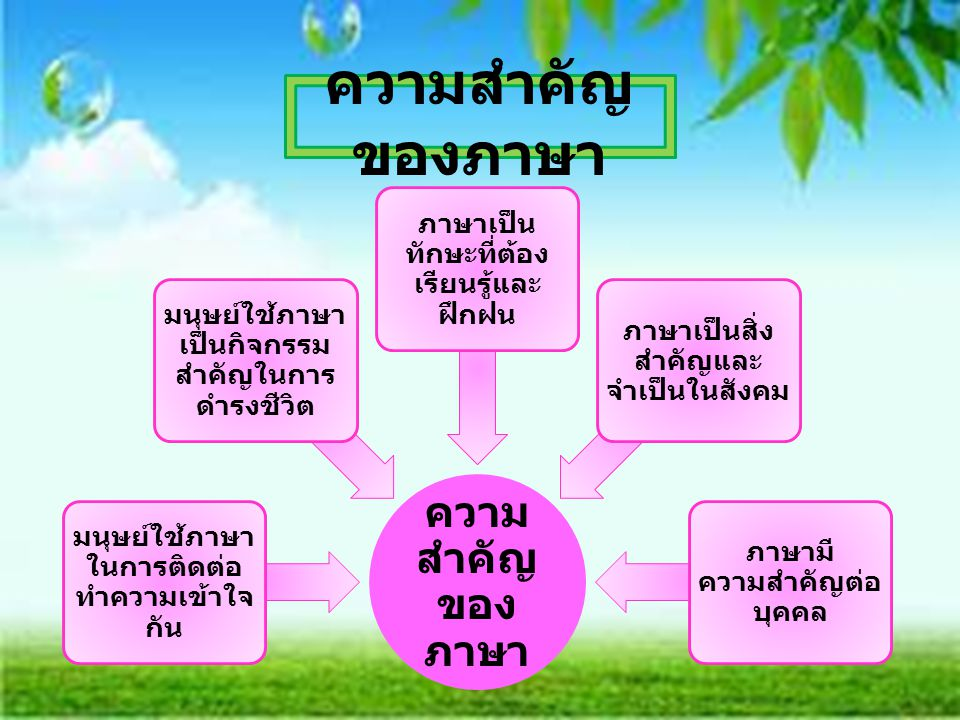 ความ สำคัญ ของ ภาษา มนุษย์ใช้ภาษา ในการติดต่อ ทำความเข้าใจ กัน มนุษย์ใช้ภาษา เป็นกิจกรรม สำคัญในการ ดำรงชีวิต ภาษาเป็น ทักษะที่ต้อง เรียนรู้และ ฝึกฝน ภาษาเป็นสิ่ง สำคัญและ จำเป็นในสังคม ภาษามี ความสำคัญต่อ บุคคล ความสำคัญ ของภาษา