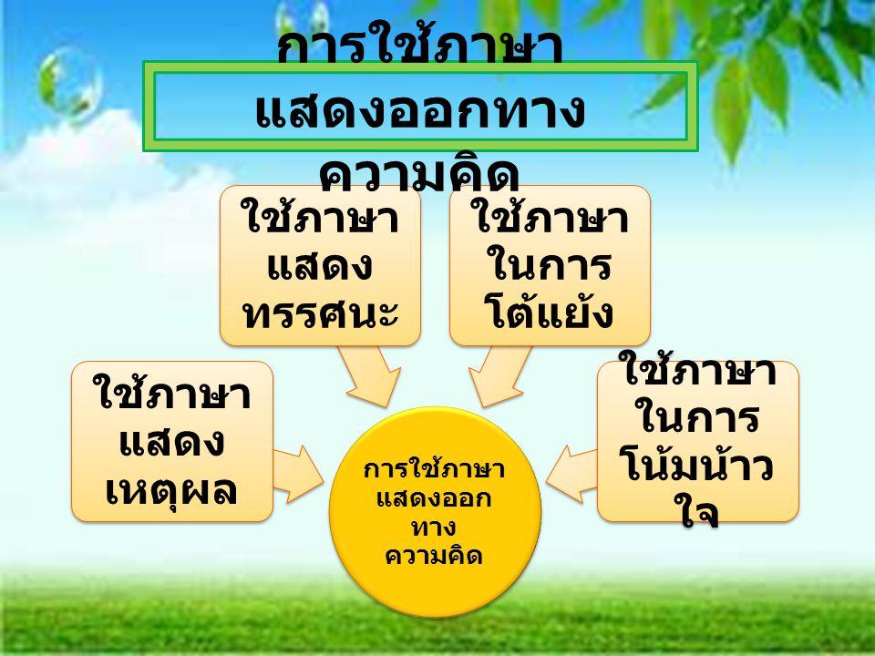 การใช้ภาษา แสดงออก ทาง ความคิด ใช้ภาษา แสดง เหตุผล ใช้ภาษา แสดง ทรรศนะ ใช้ภาษา ในการ โต้แย้ง ใช้ภาษา ในการ โน้มน้าว ใจ การใช้ภาษา แสดงออกทาง ความคิด
