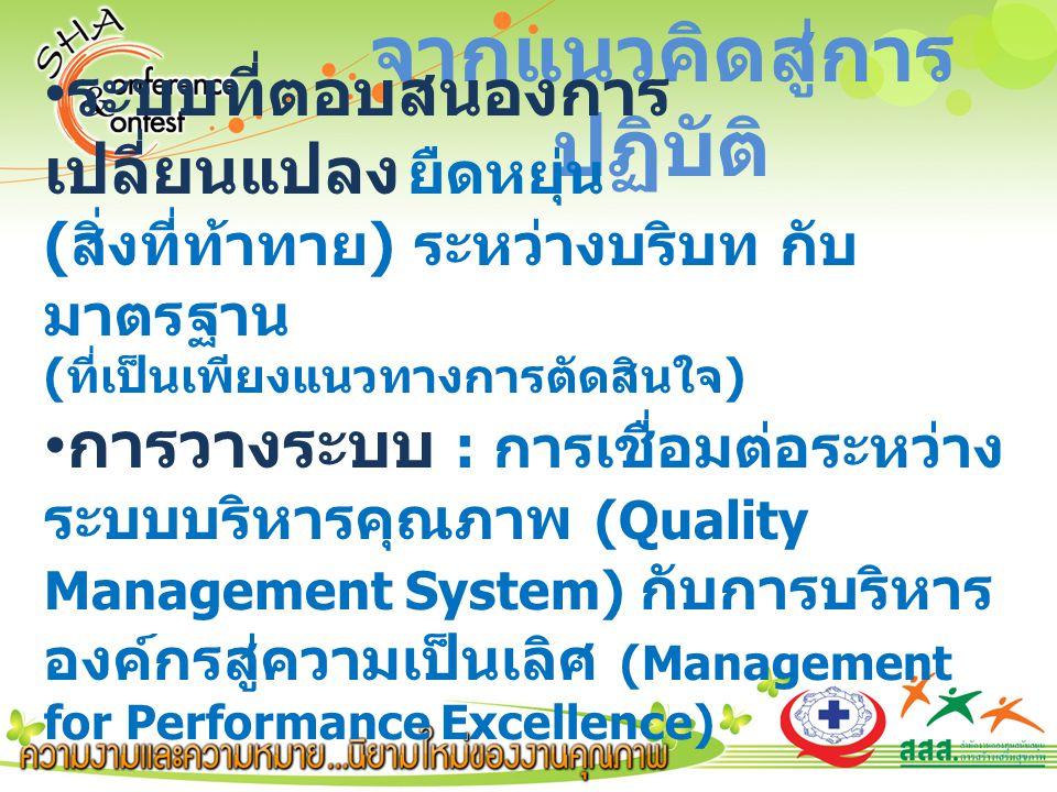 จากแนวคิดสู่การ ปฏิบัติ ระบบที่ตอบสนองการ เปลี่ยนแปลง ยืดหยุ่น ( สิ่งที่ท้าทาย ) ระหว่างบริบท กับ มาตรฐาน ( ที่เป็นเพียงแนวทางการตัดสินใจ ) การวางระบบ : การเชื่อมต่อระหว่าง ระบบบริหารคุณภาพ (Quality Management System) กับการบริหาร องค์กรสู่ความเป็นเลิศ (Management for Performance Excellence)