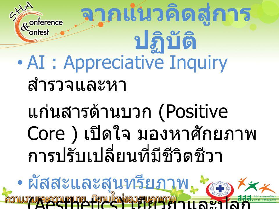 AI : Appreciative Inquiry สำรวจและหา แก่นสารด้านบวก (Positive Core ) เปิดใจ มองหาศักยภาพ การปรับเปลี่ยนที่มีชีวิตชีวา ผัสสะและสุนทรียภาพ (Aesthetics) เยียวยาและปลุก ปลอบ จากแนวคิดสู่การ ปฏิบัติ