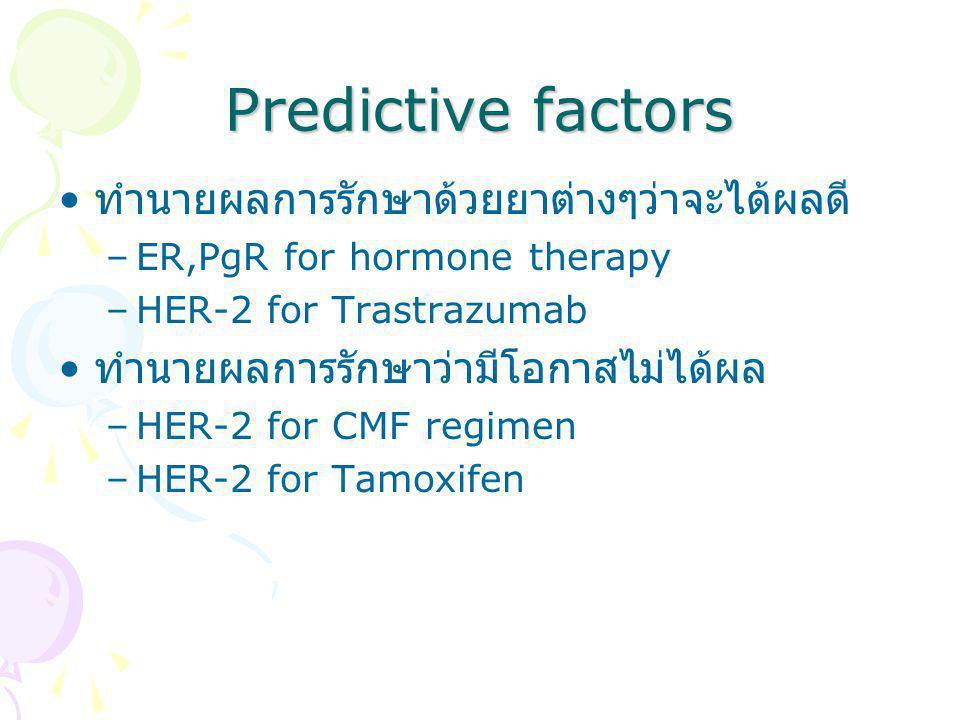 Predictive factors ทำนายผลการรักษาด้วยยาต่างๆว่าจะได้ผลดี –ER,PgR for hormone therapy –HER-2 for Trastrazumab ทำนายผลการรักษาว่ามีโอกาสไม่ได้ผล –HER-2 for CMF regimen –HER-2 for Tamoxifen