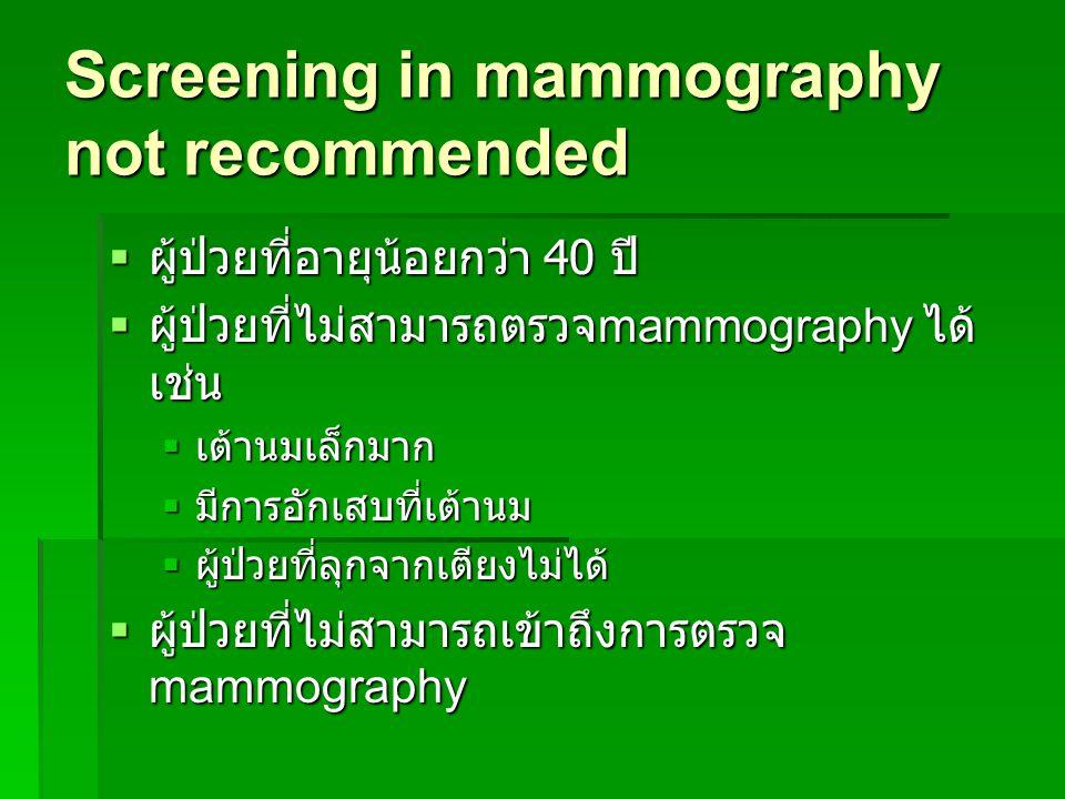 การตรวจคัดกรองมะเร็งเต้านมใน ผู้หญิงไทย  อายุ 20-39 ปี ตรวจเต้านมด้วย ตนเองทุกเดือน ตรวจเต้านมโดยบุคลากร ทางการแพทย์ อย่างน้อย 1 ครั้งใน 3 ปี ตรวจเต้านมโดยบุคลากร ทางการแพทย์ อย่างน้อย 1 ครั้งใน 3 ปี  อายุ 40 ปีขึ้นไป ตรวจเต้านมด้วย ตนเองทุกเดือน ตรวจเต้านมโดยบุคลากรทางการแพทย์ ทุกปี ตรวจเอกซ์เรย์เต้านมทุกปี