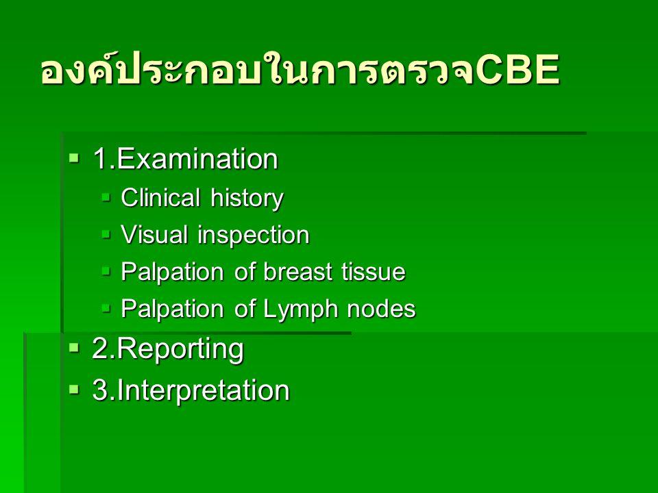 องค์ประกอบในการตรวจ CBE  1.Examination  Clinical history  Visual inspection  Palpation of breast tissue  Palpation of Lymph nodes  2.Reporting 