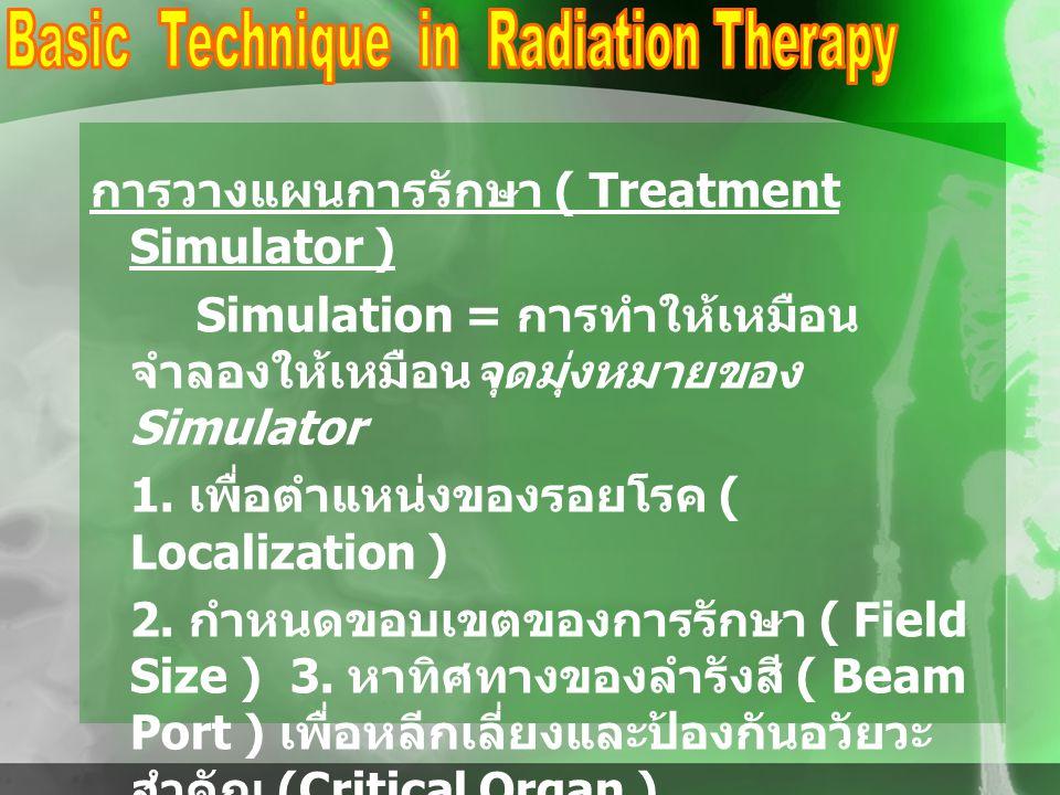 การวางแผนการรักษา ( Treatment Simulator ) Simulation = การทำให้เหมือน จำลองให้เหมือนจุดมุ่งหมายของ Simulator 1. เพื่อตำแหน่งของรอยโรค ( Localization )