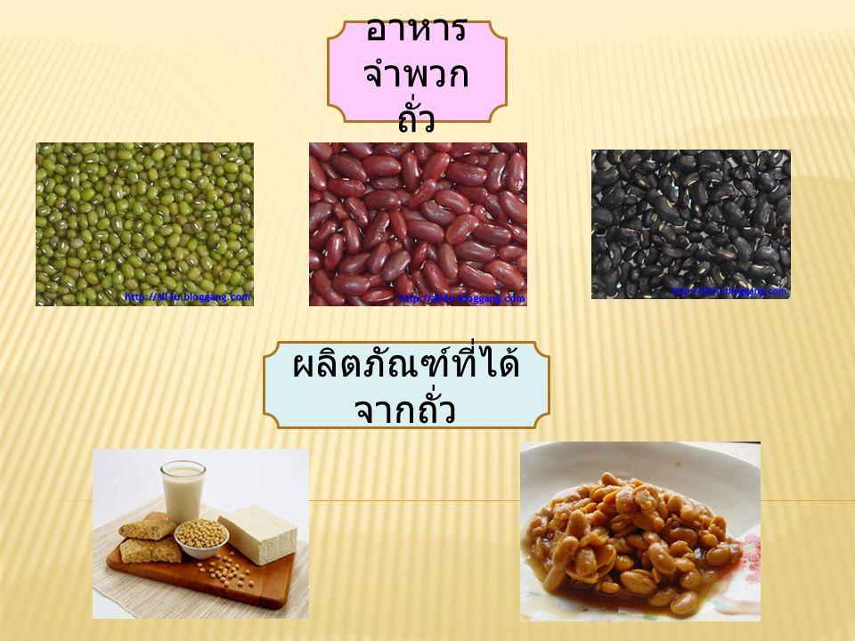 อาหาร จำพวก ถั่ว ผลิตภัณฑ์ที่ได้ จากถั่ว