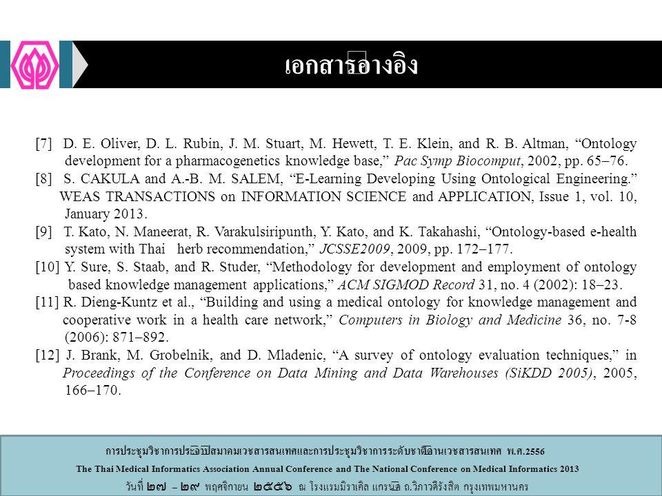 การประชุมวิชาการประจำปีสมาคมเวชสารสนเทศและการประชุมวิชาการระดับชาติด้านเวชสารสนเทศ พ.ศ.2556 The Thai Medical Informatics Association Annual Conference and The National Conference on Medical Informatics 2013 วันที่ ๒๗ – ๒๙ พฤศจิกายน ๒๕๕๖ ณ โรงแรมมิราเคิล แกรนด์ ถ.วิภาวดีรังสิต กรุงเทพมหานคร เอกสารอ้างอิง [7] D.