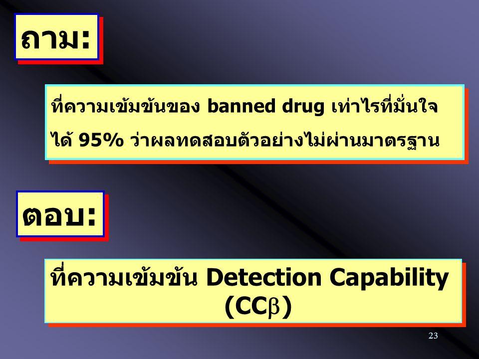 23 ที่ความเข้มข้นของ banned drug เท่าไรที่มั่นใจ ได้ 95% ว่าผลทดสอบตัวอย่างไม่ผ่านมาตรฐาน ถาม: ตอบ: ที่ความเข้มข้น Detection Capability (CC  ) ที่ควา
