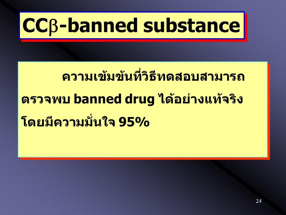 24 CC  -banned substance ความเข้มข้นที่วิธีทดสอบสามารถ ตรวจพบ banned drug ได้อย่างแท้จริง โดยมีความมั่นใจ 95%
