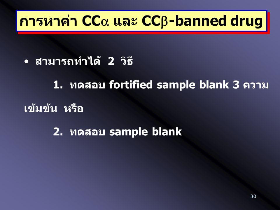 30 การหาค่า CC  และ CC  -banned drug สามารถทำได้ 2 วิธี 1. ทดสอบ fortified sample blank 3 ความ เข้มข้น หรือ 2. ทดสอบ sample blank