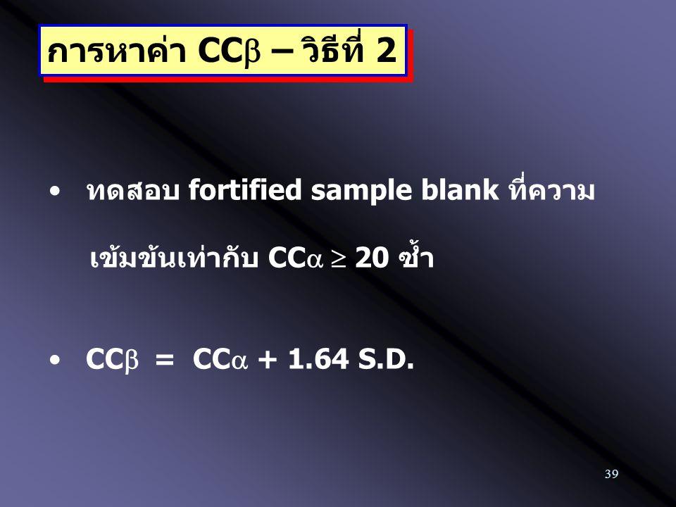 39 ทดสอบ fortified sample blank ที่ความ เข้มข้นเท่ากับ CC  20 ซ้ำ CC  = CC  + 1.64 S.D. การหาค่า CC  – วิธีที่ 2