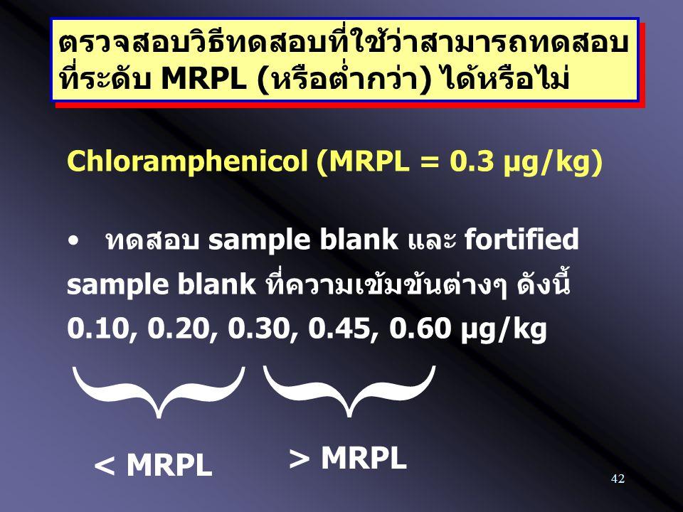 42 ตรวจสอบวิธีทดสอบที่ใช้ว่าสามารถทดสอบ ที่ระดับ MRPL (หรือต่ำกว่า) ได้หรือไม่ ตรวจสอบวิธีทดสอบที่ใช้ว่าสามารถทดสอบ ที่ระดับ MRPL (หรือต่ำกว่า) ได้หรื
