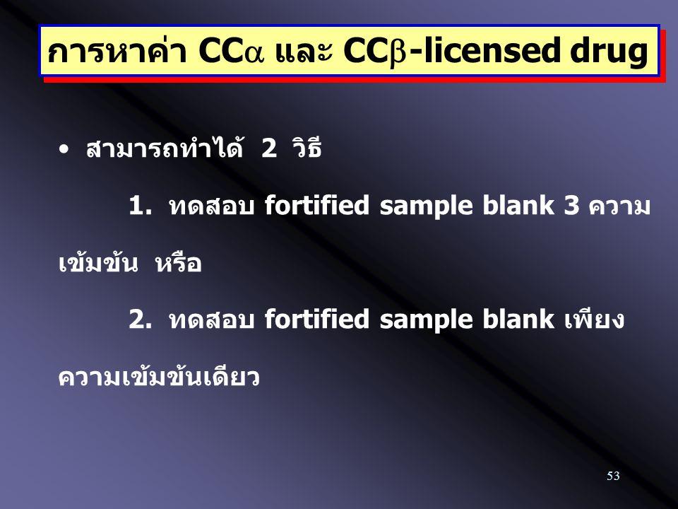 53 การหาค่า CC  และ CC  -licensed drug สามารถทำได้ 2 วิธี 1. ทดสอบ fortified sample blank 3 ความ เข้มข้น หรือ 2. ทดสอบ fortified sample blank เพียง