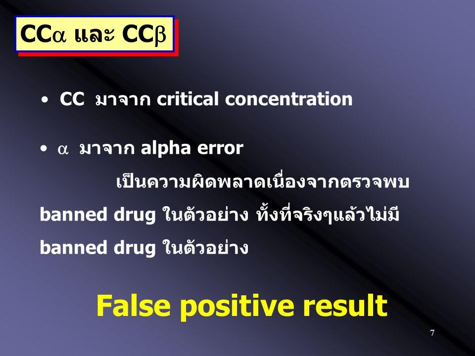 7 CC  และ CC  CC มาจาก critical concentration  มาจาก alpha error เป็นความผิดพลาดเนื่องจากตรวจพบ banned drug ในตัวอย่าง ทั้งที่จริงๆแล้วไม่มี banned