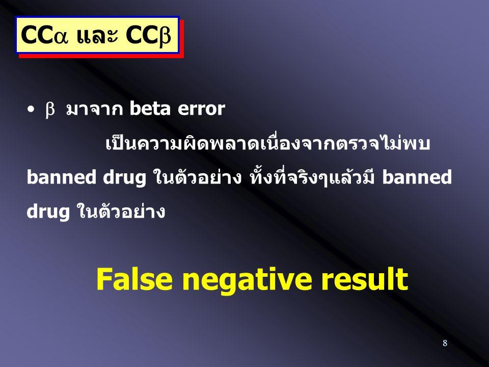 8 CC  และ CC   มาจาก beta error เป็นความผิดพลาดเนื่องจากตรวจไม่พบ banned drug ในตัวอย่าง ทั้งที่จริงๆแล้วมี banned drug ในตัวอย่าง False negative r