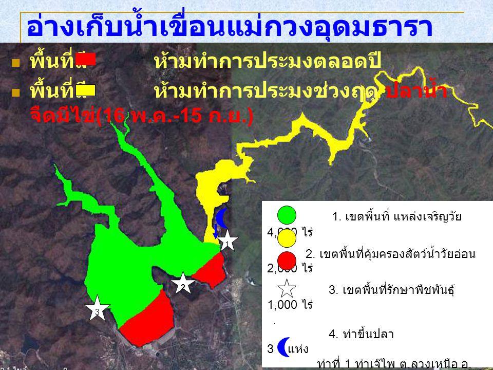 พื้นที่สี ห้ามทำการประมงตลอดปี พื้นที่สี ห้ามทำการประมงช่วงฤดู ปลาน้ำ จืดมีไข่ (16 พ. ค.-15 ก. ย.) อ่างเก็บน้ำเขื่อนแม่กวงอุดมธารา 1. เขตพื้นที่ แหล่ง