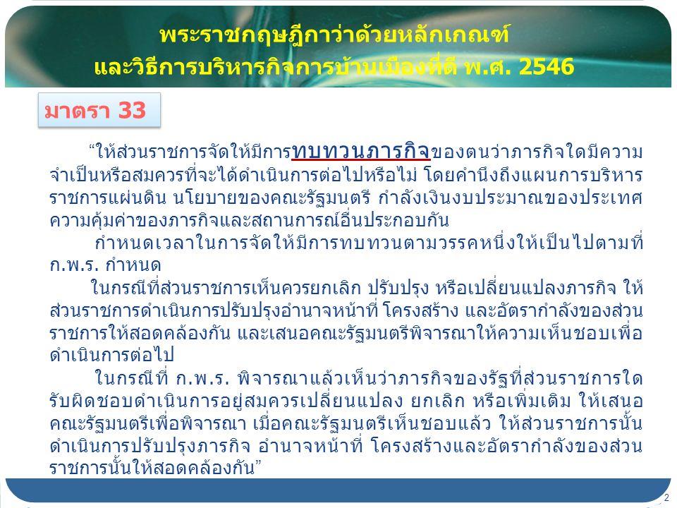 คณะรัฐมนตรีในการประชุมเมื่อวันที่ 24 พฤศจิกายน 2552 นายกรัฐมนตรีเสนอว่า การทบทวนบทบาทภารกิจของส่วนราชการ ตามมาตรา 33 แห่งพระราชกฤษฎีกาว่าด้วยหลักเกณฑ์และวิธีการ บริหารกิจการบ้านเมืองที่ดี พ.ศ.