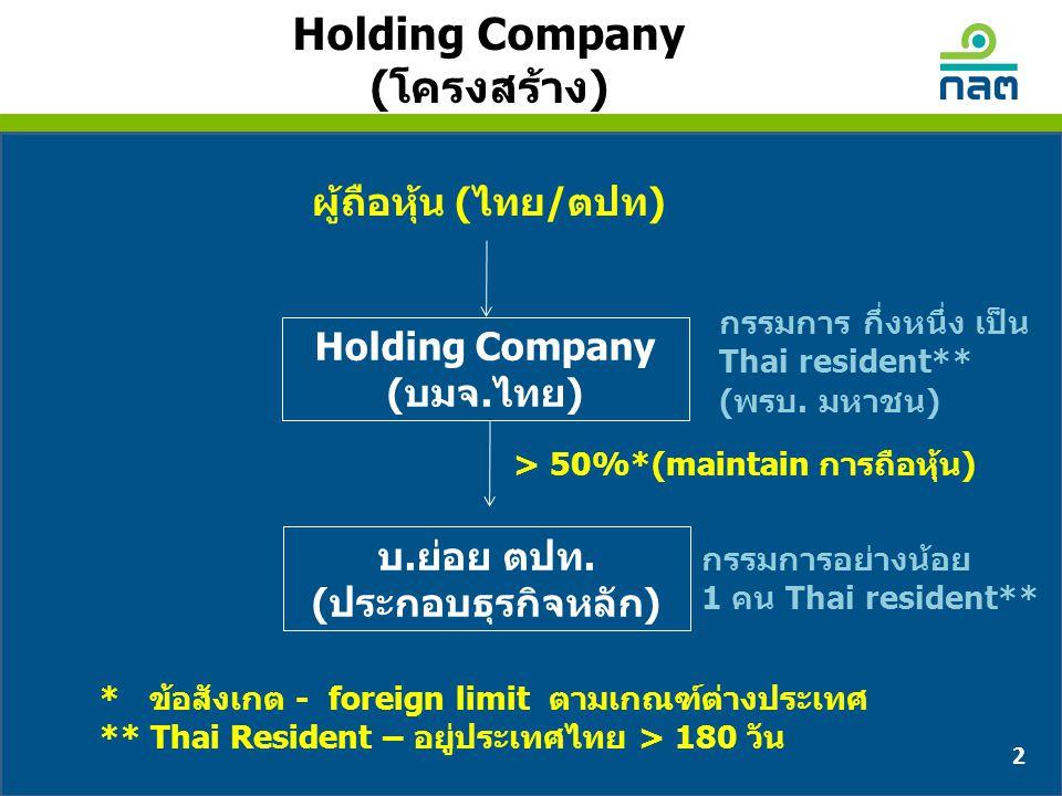 Holding Company (บมจ.ไทย) 2 Holding Company (โครงสร้าง) บ.ย่อย ตปท. (ประกอบธุรกิจหลัก) > 50%*(maintain การถือหุ้น) ผู้ถือหุ้น (ไทย/ตปท) กรรมการ กึ่งหน