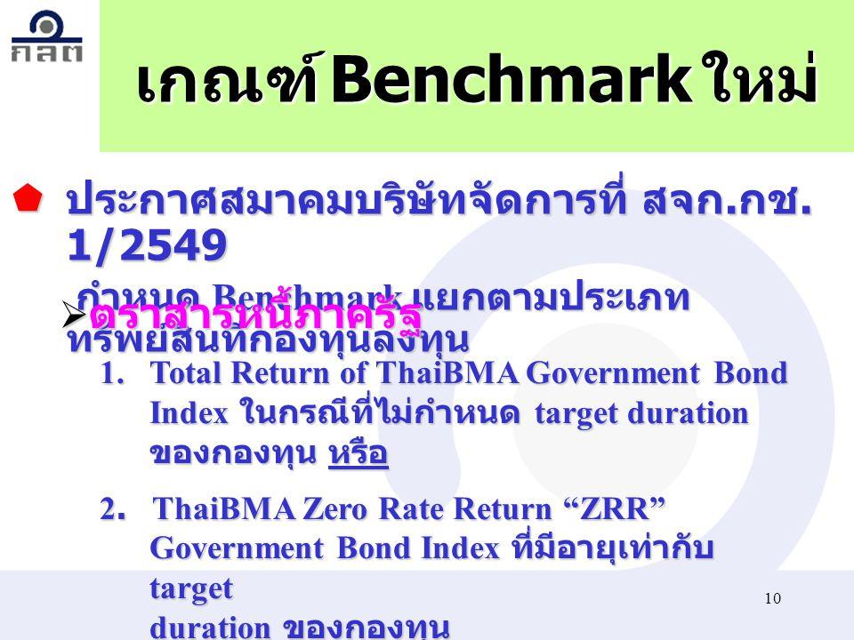 10 เกณฑ์ Benchmark ใหม่ 1.Total Return of ThaiBMA Government Bond Index ในกรณีที่ไม่กำหนด target duration ของกองทุนหรือ 1.Total Return of ThaiBMA Gove