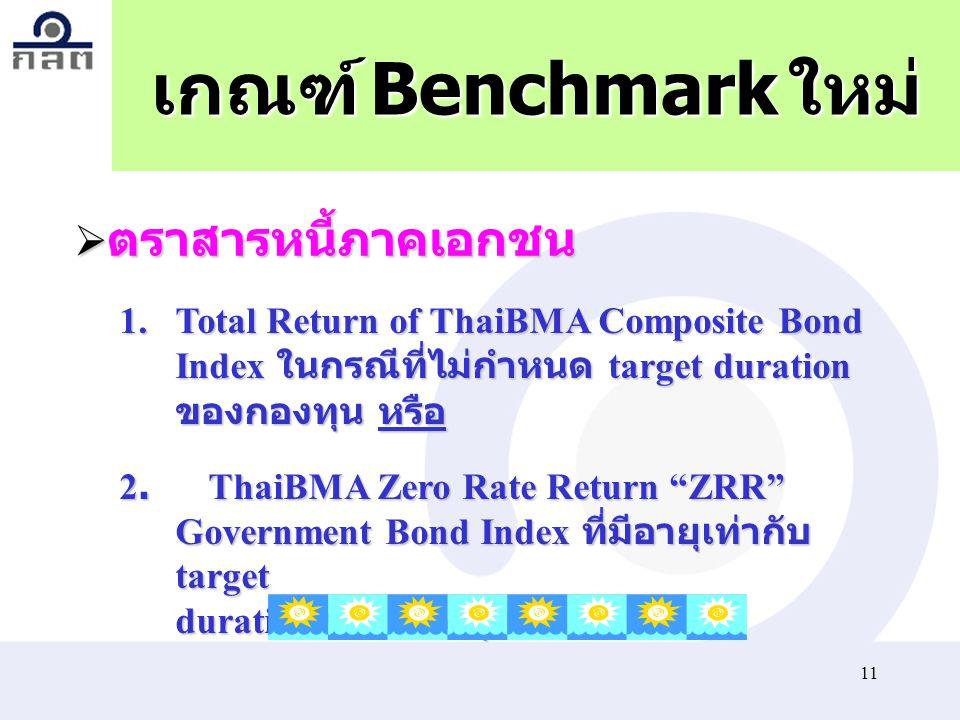 """11 เกณฑ์ Benchmark ใหม่ 1.Total Return of ThaiBMA Composite Bond Index ในกรณีที่ไม่กำหนด target duration ของกองทุน หรือ 2.ThaiBMA Zero Rate Return """"ZR"""