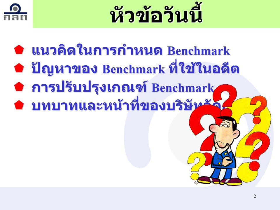 13 เกณฑ์ Benchmark ใหม่  กรณีกองทุนผสม ต้องใช้ Composite Benchmark โดยใน ส่วนของตราสารทุน จะใช้น้ำหนัก การลงทุนในหุ้นไม่น้อยกว่าค่าเฉลี่ย ของสัดส่วนการลงทุนต่ำสุดและ สูงสุด (min +max)/2) ตามที่กำหนด ไว้ในนโยบายการลงทุน