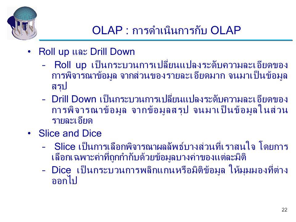 Roll up และ Drill Down – Roll up เป็นกระบวนการเปลี่ยนแปลงระดับความละเอียดของ การพิจารณาข้อมูล จากส่วนของรายละเอียดมาก จนมาเป็นข้อมูล สรุป –Drill Down