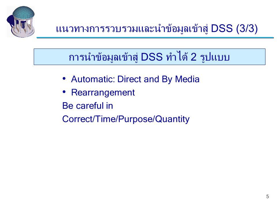 Automatic: Direct and By Media Rearrangement Be careful in Correct/Time/Purpose/Quantity การนำข้อมูลเข้าสู่ DSS ทำได้ 2 รูปแบบ แนวทางการรวบรวมและนำข้อ